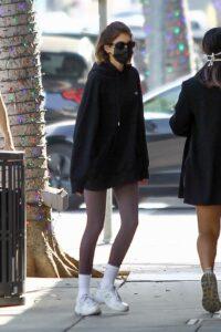 Kaia Gerber in a Black Hoodie