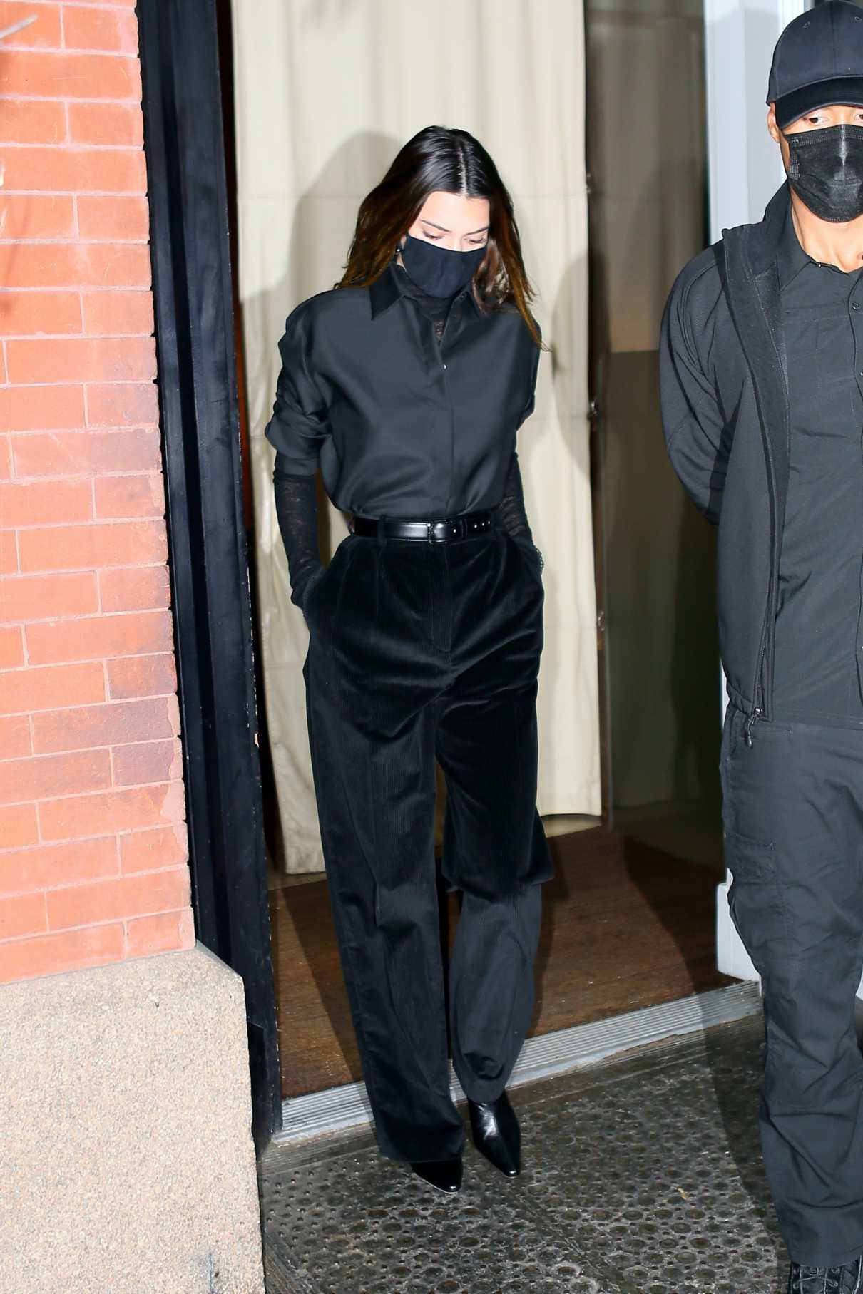 Kendall Jenner in a Black Outfit