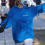 Madison Beer in a Blue Hoodie Celebrates Joe Biden's Win in West Hollywood 11/07/2020