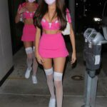 Madison Beer in a Sexy Pink Halloween Costume Out with a Pal Arrives at Catch LA in West Hollywood 10/30/2020