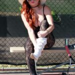 Phoebe Price in a Black Lacy Bodysuit Was Seen at the Courts in Los Angeles 11/05/2020