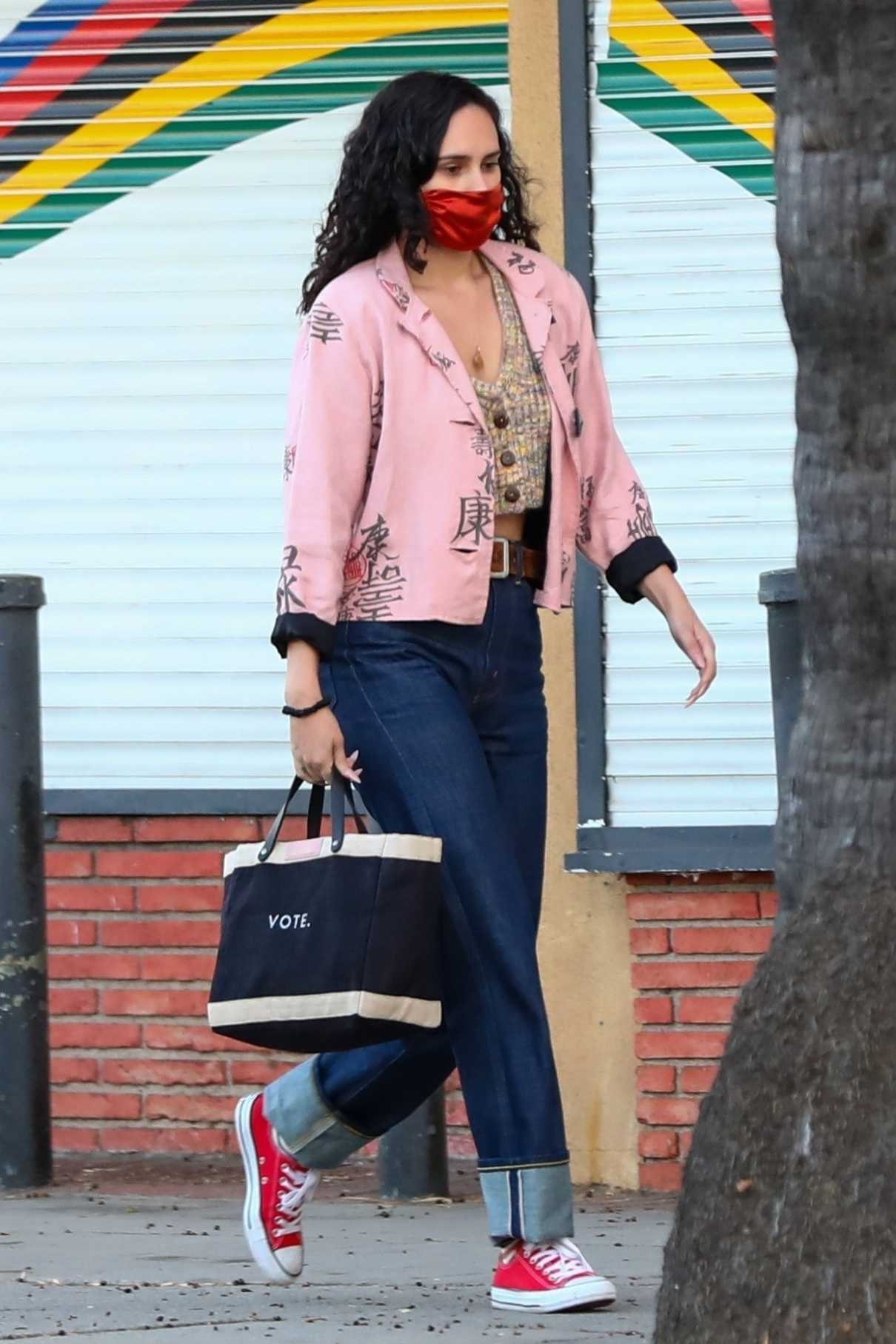Rumer Willis in a Pink Blazer
