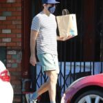 Zachary Quinto in a Striped T-Shirt Leaves the Blue Bottle Coffee in Los Feliz 11/17/2020