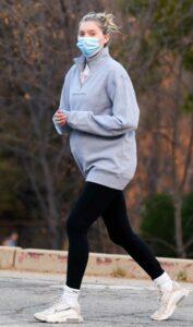 Elsa Hosk in a Grey Sweatshirt