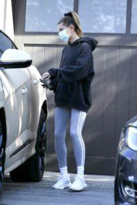 Hailey Bieber in a Black Hoodie