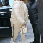 Jennifer Lopez in a Beige Puffer Jacket Heads to the Studio for a New Year's Eve Performance Rehearsal in New York 12/29/2020