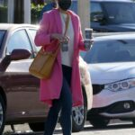 Jordana Brewster in a Pink Coat Was Spotted Out for Coffee in Brentwood 12/03/2020