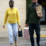 Jordana Brewster in a Yellow Moncler Sweater Goes Grocery Shopping Out with Mason Morfit in Brentwood 12/28/2020