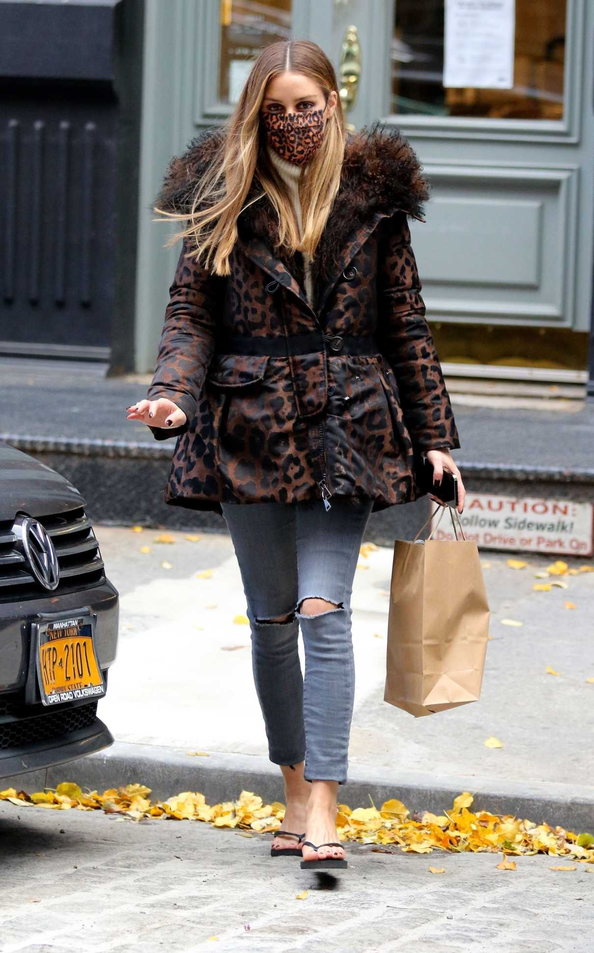 Olivia Palermo in an Animal Print Jacket