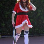 Phoebe Price in a Mrs. Claus Outfit Arrives at the Tennis Courts in Los Angeles 12/23/2020