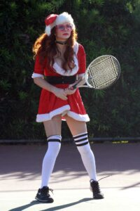 Phoebe Price in a Mrs. Claus Outfit