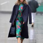 Amanda Holden in a Green Floral Dress Leaves the Heart Radio in London 01/13/2021