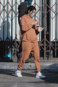 Aubrey Plaza in a Tan Sweatsuit