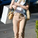 Dakota Fanning in a Protective Mask Shops on Melrose Place in Los Angeles 01/16/2021
