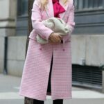 Hilary Duff in a Pink Coat on the Set of Younger in Manhattan, NYC 01/25/2021