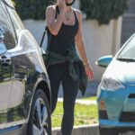 Jordana Brewster in a Black Tank Top Arrives at a Private Gym in West Hollywood 01/20/2021