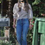 Jordana Brewster Walks Her Dog in Brentwood 01/19/2021