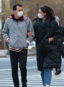 Katie Holmes in a Black Puffer Coat