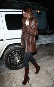Kendall Jenner in a Brown Leather Jacket