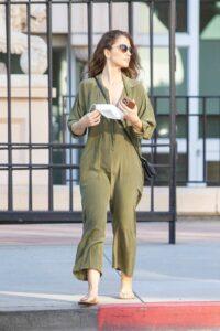 Minka Kelly in an Olive Jumpsuit