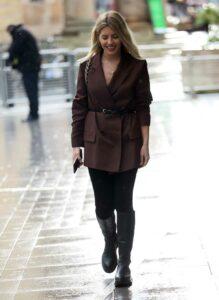 Mollie King in a Brown Blazer