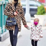 Nicky Hilton in an Animal Print Fur Coat Steps Out with Her Daughter for a Walk in New York City 01/13/2021