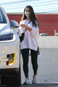 Olivia Munn in a White Sweatshirt