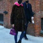 Olivia Palermo in an Animal Print Fur Coat Goes Out for a Walk in Dumbo, Brooklyn, New York 01/24/2021