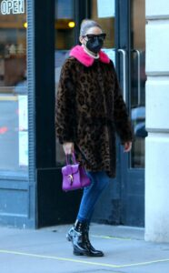 Olivia Palermo in an Animal Print Fur Coat