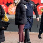 Phoebe Dynevor in a Beige Knit Hat Stops By a Local Farmer's Market with Her Mother Sally Dynevor in Manchester 01/19/2021