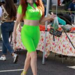Phoebe Price in a Neon Green Outfit Goes Shopping at the Farmers Market in Los Angeles 01/17/2021