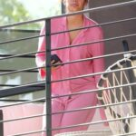 Sara Sampaio in a Pink Outfit Was Spotted on Her Balcony in Los Angeles 01/12/2021