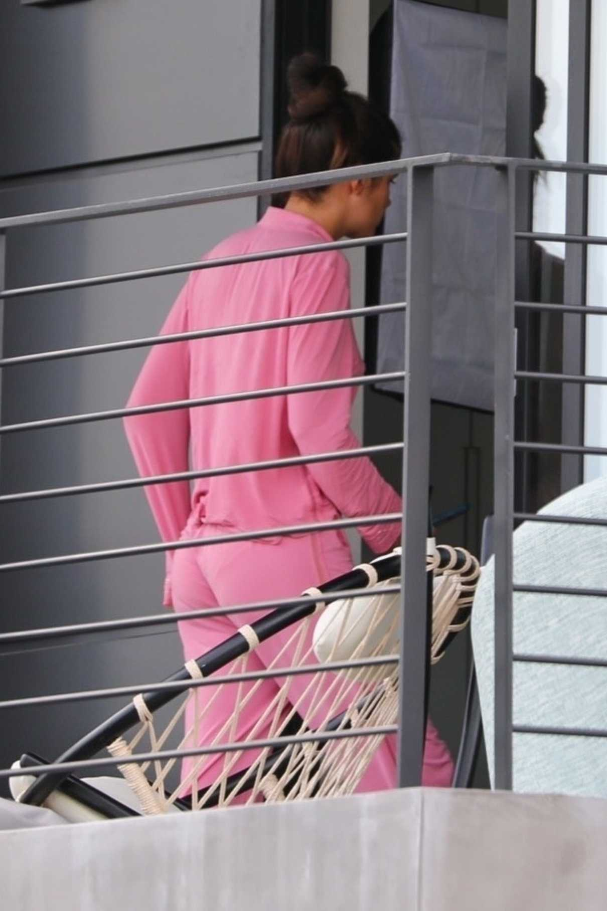 Sara Sampaio in a Pink Outfit