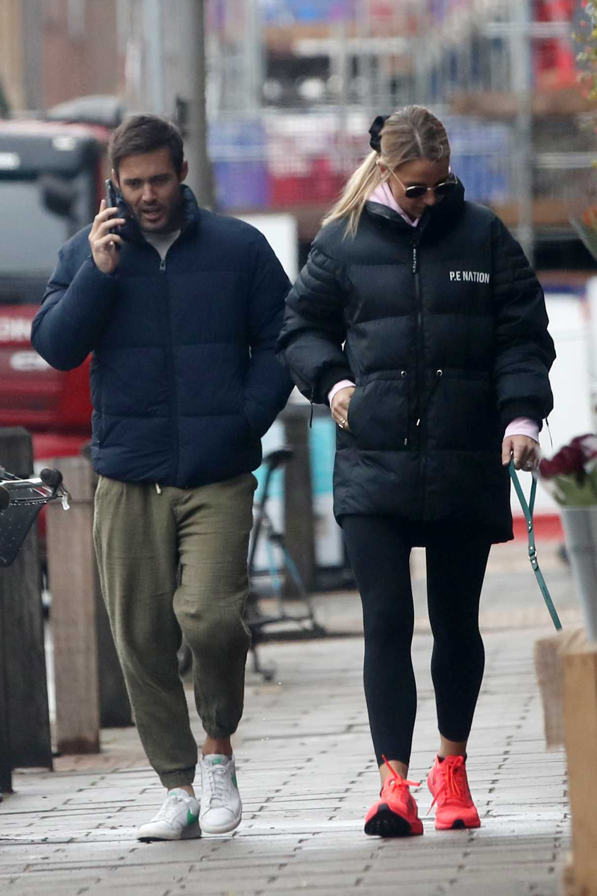 Vogue Williams in a Black Puffer Jacket