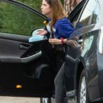Anna Kendrick in a Blue Sweatshirt Arrives at a Friend's House in Los Angeles 02/11/2021