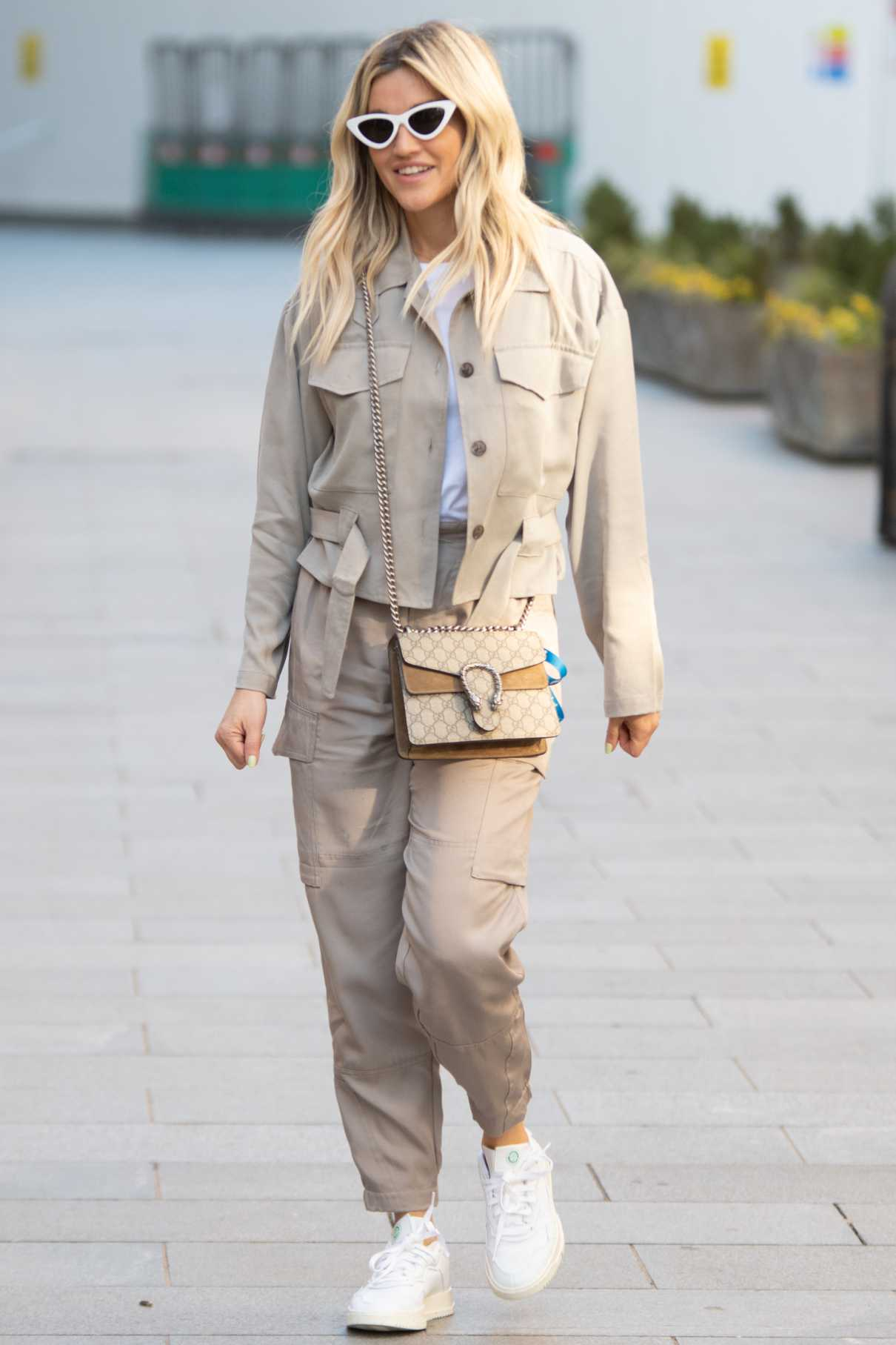 Ashley Roberts in a Beige French Connection Jacket