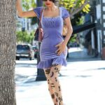 Bai Ling in a Purple Dress Was Seen Out in Los Angeles 02/20/2021