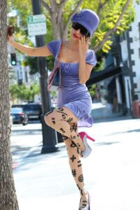 Bai Ling in a Purple Dress