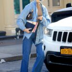 Bella Hadid in a Blue Denim Shirt Was Seen Out in New York 02/25/2021