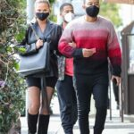 Chrissy Teigen in a Black Leather Blazer Was Seen Out with John Legend in Beverly Hills 02/01/2021