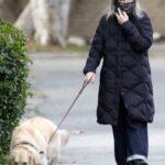 Diane Keaton in a Black Puffer Coat Walks Her Dog in Brentwood 02/26/2021