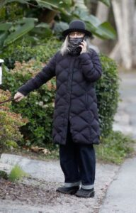 Diane Keaton in a Black Puffer Coat