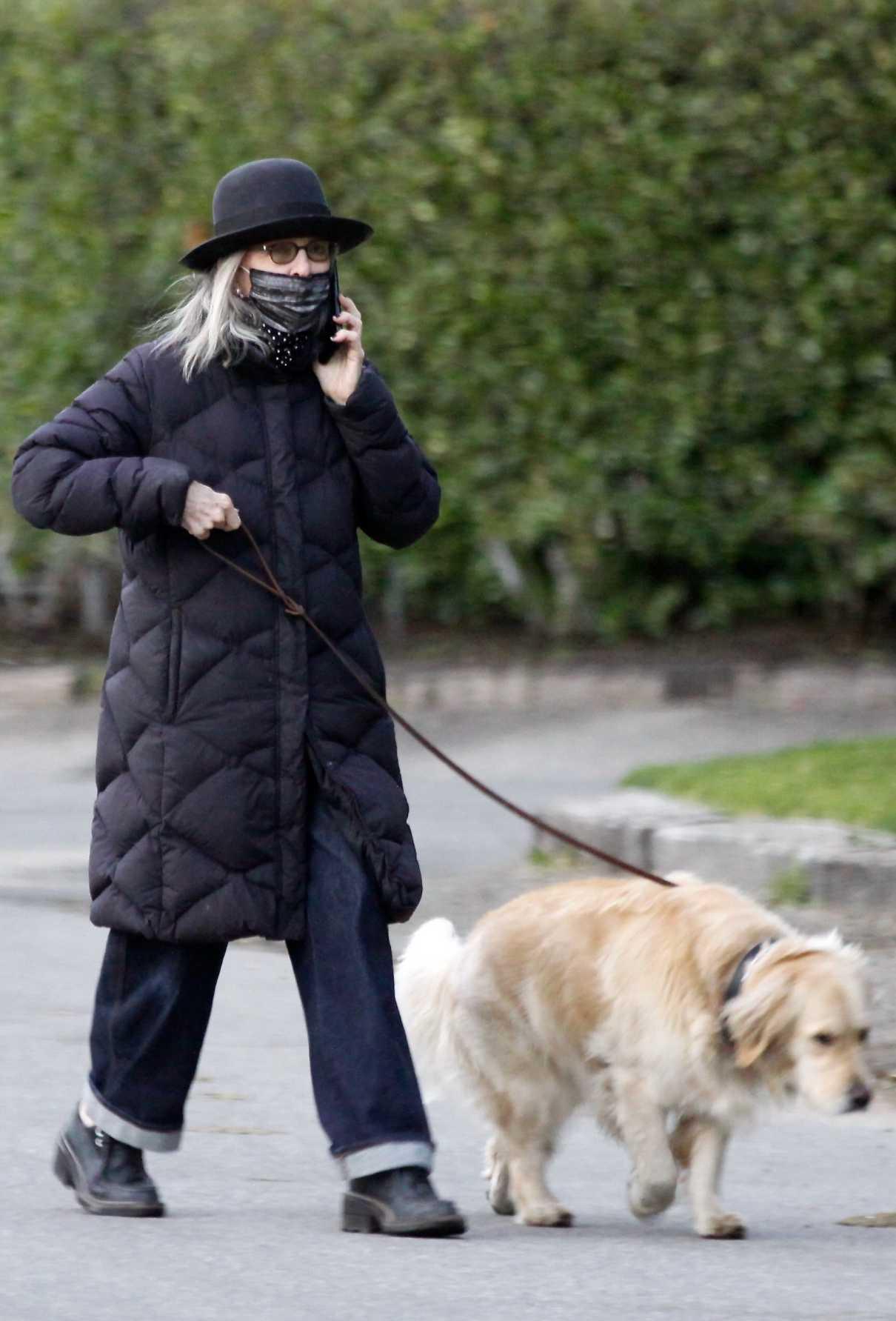 Diane Keaton in a Black Puffer Coat