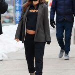 Emily Ratajkowski in a Black Sweatpants Was Seen Out with Her Husband in New York 02/06/2021