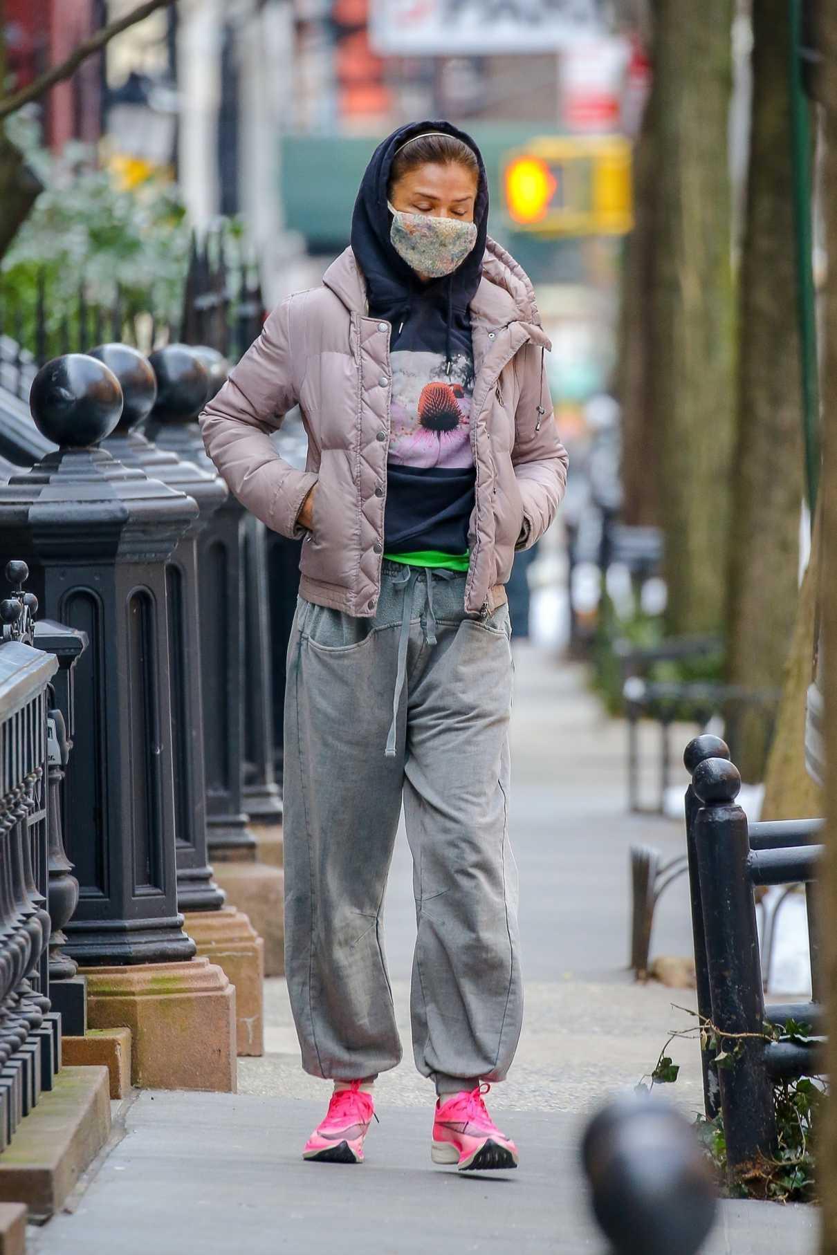 Helena Christensen in a Pink Jacket