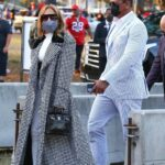Jennifer Lopez in a Grey Coat Arrives at the Super Bowl Out with Alex Rodriguez in Tampa 02/07/2021