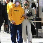 Justin Bieber in a Yellow Hoodie Was Seen Out with Hailey Bieber in Beverly Hills 02/20/2021