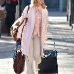 Kate Garraway in a Pink Cardigan Arrives at the Global Studios in London 02/26/2021