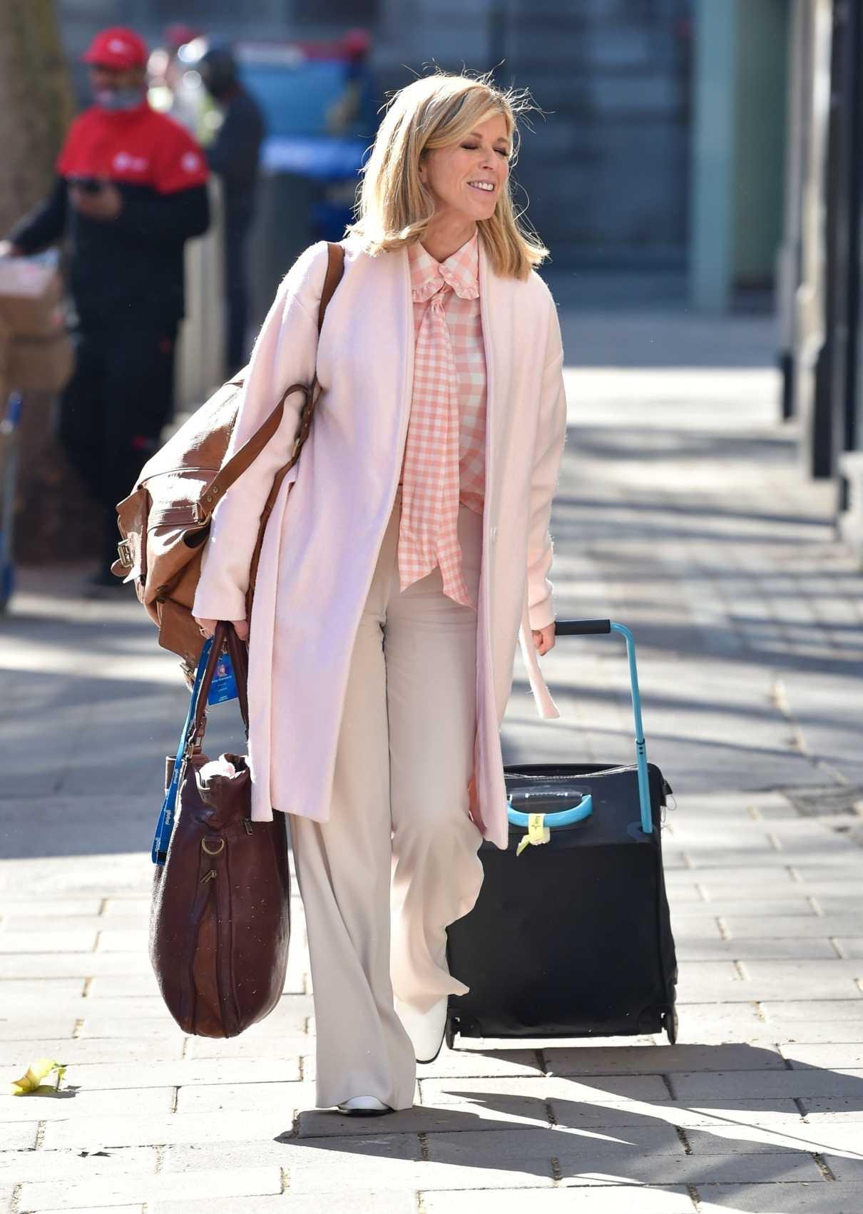 Kate Garraway in a Pink Cardigan
