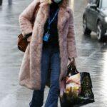 Kate Garraway in a Pink Fur Coat Arrives at the Global Radio Studios in London 02/08/2021